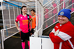 Pickering Captain Nick Thompson and his team wait for the Stocksbridge players in the caged off players tunnel, while the Stocksbridge goalkeeping coach looks on. Stocksbridge Park Steels v Pickering Town, Evo-Stik East Division, 17th November 2018. Stocksbridge Park Steels were born from the works team of the local British Steel plant that dominates the town north of Sheffield.<br /> Having missed out on promotion via the play offs in the previous season, Stocksbridge were hovering above the relegation zone in Northern Premier League Division One East, as they lost 0-2 to Pickering Town. Stocksbridge finished the season in 13th place.