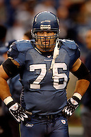 Oct. 23, 2005; Seattle, WA, USA; Guard (76) Steve Hutchinson of the Seattle Seahawks against the Dallas Cowboys at Qwest Field. Mandatory Credit: Mark J. Rebilas