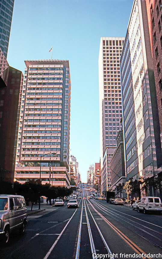 San Francisco:  California St., Bank of America at left.  Photo '83.