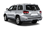 Car pictures of rear three quarter view of a 2018 Toyota Sequoia SR5 Auto 5 Door SUV angular rear