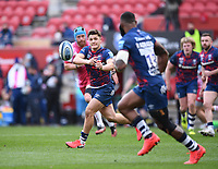 27th March 2021; Ashton Gate Stadium, Bristol, England; Premiership Rugby Union, Bristol Bears versus Harlequins; Callum Sheedy of Bristol Bears passes to Semi Radradra of Bristol Bears