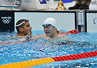 August 04, 2012..Yang Sun reacts after setting a new world record in Men's 1500m Freestyle Final at the Aquatics Center on day eight of 2012 Olympic Games in London, United Kingdom.