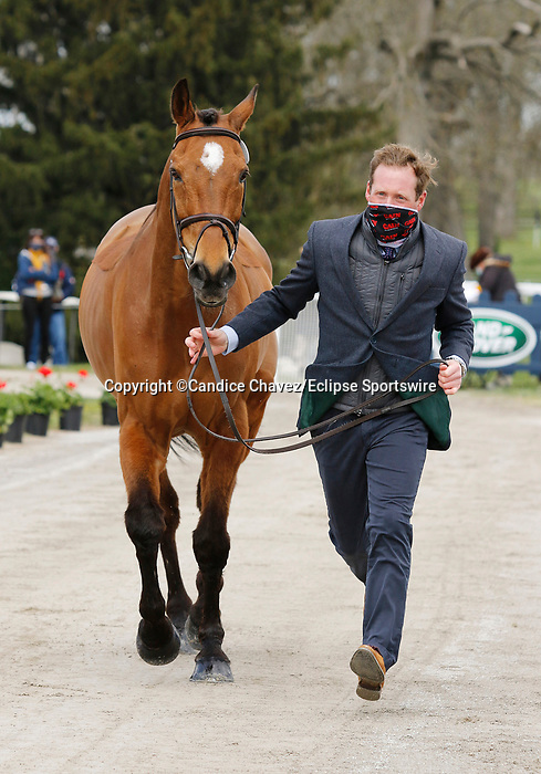 April 21, 2021: 34 Cooley Master Class and rider Oliver Townend from Great Britain in the first horse veterinary inspection at the Land Rover Three Day Event at the Kentucky Horse Park in Lexington, KY on April 21, 2021.  Candice Chavez/ESW/CSM