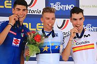 11th September 2021: Trento, Trentino–Alto Adige, Italy: 2021 UEC Road European Cycling Championships,   Mens U23 final; Filippo BARONCINI (ITA), Thibau NYS (BEL), Juan AYUSO PESQUERA (ESP)  celebrate on the podium