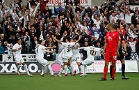 Pictured: Leon Britton celebrates putting the swans one nil up<br /> Swansea City FC (white) V Nottingham Forest (red) Championship play off semi final, second leg. Liberty Stadium Swansea 16/05/11<br /> Picture by: Ben Wyeth  / Athena Picture Agency<br /> info@athena-pictures.com