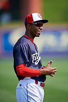 Reading Fightin Phils shortstop Malquin Canelo (6) warms up before the first game of a doubleheader against the Portland Sea Dogs on May 15, 2018 at FirstEnergy Stadium in Reading, Pennsylvania.  Portland defeated Reading 8-4.  (Mike Janes/Four Seam Images)