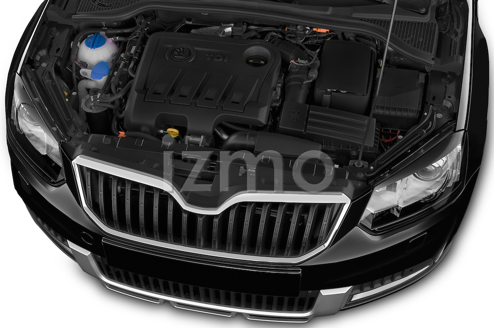 Car Stock 2014 Skoda YETI LAURIN & KLEMENT OUTDOOR 5 Door SUV 4WD Engine high angle detail view