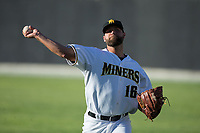 Sussex County Miners starting pitcher Gianni Zayas (16) warms up in the outfield prior to the game against the New Jersey Jackals at Skylands Stadium on July 29, 2017 in Augusta, New Jersey.  The Miners defeated the Jackals 7-0.  (Brian Westerholt/Four Seam Images)