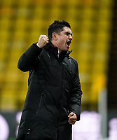 Watford manager Xisco Munoz celebrates at the final whistle during the Sky Bet Championship behind closed doors match played without supporters with the town in tier 4 of the government covid-19 restrictions, between Watford and Norwich City at Vicarage Road, Watford, England on 26 December 2020. Photo by Andy Rowland.