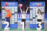 SCHAATSEN: HEERENVEEN: 15-12-2018, ISU World Cup, Podium Mass Start Ladies, Irene Schouten (NED), Nana Takagi (JPN), Ayano Sato (JPN), ©foto Martin de Jong
