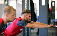 Pictured L-R: Stephen Kingsley and Angel Rangel work out in the gym. Wednesday 05 July 2017<br />Re: Swansea City FC training at Fairwood training ground, UK