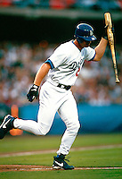 Todd Hollandsworth of the Los Angeles Dodgers during a game at Dodger Stadium in Los Angeles, California during the 1997 season.(Larry Goren/Four Seam Images)