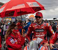 29th August 2021; Silverstone Circuit, Silverstone, Northamptonshire, England; MotoGP British Grand Prix, Race Day; Ducati Lenovo Team rider Francesco Bagnaia on his Ducati Desmosedici GP21 on the grid
