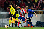 Angel Correa (L) of Atletico de Madrid battles for the ball with Pierre Bengtsson of FC Copenhague during the UEFA Europa League 2017-18 Round of 32 (2nd leg) match between Atletico de Madrid and FC Copenhague at Wanda Metropolitano  on February 22 2018 in Madrid, Spain. Photo by Diego Souto / Power Sport Images