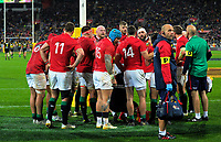 The Lions team huddles after Wes Goosen's try during the 2017 DHL Lions Series rugby match between the Hurricanes and British & Irish Lions at Westpac Stadium in Wellington, New Zealand on Tuesday, 27 June 2017. Photo: Dave Lintott / lintottphoto.co.nz