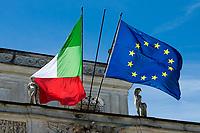 talian and European flags at Villa Pamphilj for the Global Health Summit. <br /> Rome (Italy), May 20th 2021<br /> Photo Pool Stefano Carofei Insidefoto