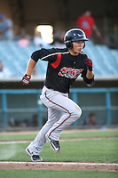 Luis Urias (3) of the Lake Elsinore Storm runs to first base during a game against the Lancaster JetHawks at The Hanger on August 2, 2016 in Lancaster, California. Lake Elsinore defeated Lancaster, 10-9. (Larry Goren/Four Seam Images)