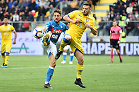 Dries Mertens of Napoli and Andrea Beghetto of Frosinone compete for the ball during the Serie A 2018/2019 football match between Frosinone and SSC Napoli at stadio Benito Stirpe, Frosinone, April 28, 2019 <br /> Photo Andrea Staccioli / Insidefoto
