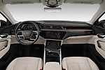 Stock photo of straight dashboard view of a 2019 Audi e-tron Prestige 5 Door SUV