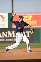 Keach Ballard (16) of the Lancaster JetHawks makes a throw during a game against the Visalia Rawhide at The Hanger on July 6, 2016 in Lancaster, California. Lancaster defeated Visalia, 10-7. (Larry Goren/Four Seam Images)