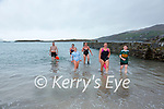 Enjoying a regular swim at Derrynane Harbour on Thursday were l-r; David O'Leary, Niamh O'Shea,  Lilly Mae Donnelly, Catherine Fayen, Wendy Donnelly & Devon Smith.