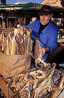 Europe/France/Auvergne/12/Aveyron/Villefranche-de-Rouergue: Monsieur Solanas marchand de stockfish sur le marché de la place Notre-Dame [Non destiné à un usage publicitaire - Not intended for an advertising use]
