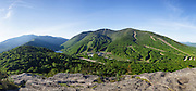 Panoramic of Cannon Mountain from Bald Mountain in the White Mountains of New Hampshire USA during the spring months. This image consists of 7 images stitched together.