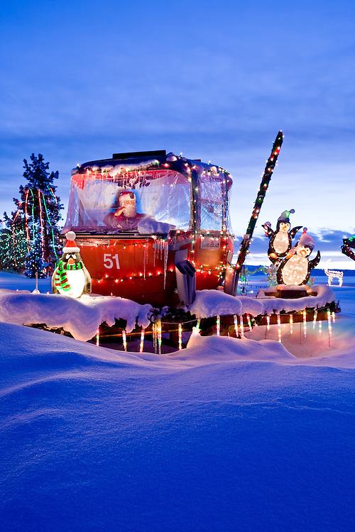 Santa in a Christmas gondola in Steamboat Springs Colorado.