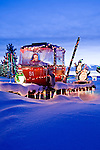 Santa in a Christmas gondola in Steamboat Springs Colorado.