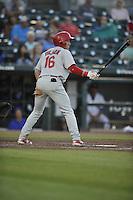 Memphis Redbirds Charlie Tilson (16) bats during the Pacific Coast League game against the Iowa Cubs at Principal Park on June 6, 2016 in Des Moines, Iowa.  Memphis won 6-2.  (Dennis Hubbard/Four Seam Images)