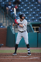 Ryan Anderson (6) of the Hickory Crawdads at bat against the Greensboro Grasshoppers at First National Bank Field on May 6, 2021 in Greensboro, North Carolina. (Brian Westerholt/Four Seam Images)