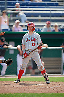 Auburn Doubledays right fielder Justin Connell (13) at bat during a game against the Batavia Muckdogs on September 1, 2018 at Dwyer Stadium in Batavia, New York.  Auburn defeated Batavia 10-5.  (Mike Janes/Four Seam Images)