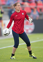 02 June 2013: U.S Women's National goalkeeper Nicole Barnhart #18 takes warm-up during an International Friendly soccer match between the U.S. Women's National Soccer Team and the Canadian Women's National Soccer Team at BMO Field in Toronto, Ontario.<br /> The U.S. Women's National Team Won 3-0.