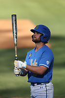 Jarron Silva (8) of the UCLA Bruins during a game against the Cal State Fullerton Titans at Jackie Robinson Stadium on March 6, 2021 in Los Angeles, California. UCLA defeated Cal State Fullerton, 6-1. (Larry Goren/Four Seam Images)