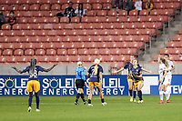SANDY, UT - OCTOBER 03: Players from Utah Royals FC react to a play during a game between Portland Thorns FC and Utah Royals FC at Rio Tinto Stadium on October 03, 2020 in Sandy, Utah.
