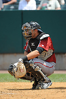 Altoona Curve catcher Ralph Henriquez (3) during game against the New Britain Rock Cats  at New Britain Stadium on June 25, 2014 in New Britain, Connecticut. New Britain defeated Altoona 3-1.  (Tomasso DeRosa/Four Seam Images)