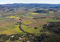 aerial photograph across the Napa Valley toward the Vaca Mountains in the spring