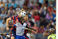 KANSAS CITY, KS - JULY 11: Walker Zimmerman #5 of the United States and Carlens Arcus #2 of Haiti battle in the air for a ball during a game between Haiti and USMNT at Children's Mercy Park on July 11, 2021 in Kansas City, Kansas.