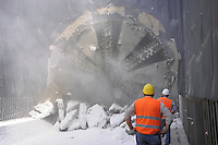 "- Milan, yard for construction of new subway line number 5, ...the ""mechanical mole"" breaks the last screen before of what will be the  Marche station....- Milano cantiere per la costruzione della nuova linea 5 della Metropolitana, la ""talpa meccanica"" sfonda l'utimo diaframma prima di quella che sarà la stazione Marche"