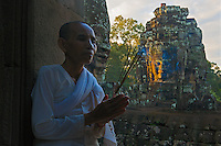 Buddhist Nun at the Bayon Temple, Siem Reap Cambodia