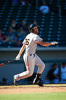 Scottsdale Scorpions Hunter Cole (26), of the San Francisco Giants organization, during a game against the Mesa Solar Sox on October 18, 2016 at Sloan Park in Mesa, Arizona.  Mesa defeated Scottsdale 6-3.  (Mike Janes/Four Seam Images)