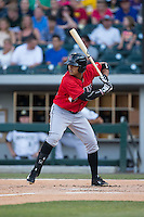 Gustavo Nunez (12) of the Indianapolis Indians at bat against the Charlotte Knights at BB&T BallPark on June 20, 2015 in Charlotte, North Carolina.  The Knights defeated the Indians 6-5 in 12 innings.  (Brian Westerholt/Four Seam Images)