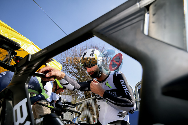 Giacomo Nizzolo (ITA) Team Qhubeka Assos before Stage 3 of Paris-Nice 2021, an individual time trial running 14.4km around Gien, France. 9th March 2021.<br /> Picture: ASO/Fabien Boukla | Cyclefile<br /> <br /> All photos usage must carry mandatory copyright credit (© Cyclefile | ASO/Fabien Boukla)