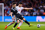 Marco Asensio of Spain (R) in action against Giovani Lo Celso of Argentina (L) during the International Friendly 2018 match between Spain and Argentina at Wanda Metropolitano Stadium on 27 March 2018 in Madrid, Spain. Photo by Diego Souto / Power Sport Images