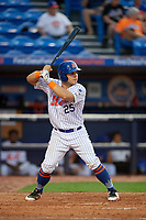 St. Lucie Mets catcher Brandon Brosher (25) at bat during the first game of a doubleheader against the Charlotte Stone Crabs on April 24, 2018 at First Data Field in Port St. Lucie, Florida.  St. Lucie defeated Charlotte 5-3.  (Mike Janes/Four Seam Images)