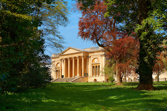 The neo-classic south front with Corinthian columns of the Duke of Buckingham's  Stowe House designed by Robert Adam in 1771. The landscape English garden was designed by Capability Brown.  Buckingham, England