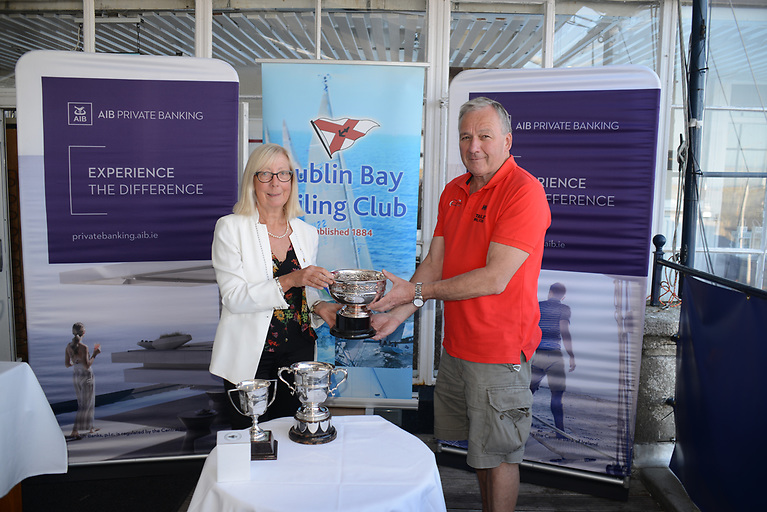 Kevin Byrne skipper of the Cruiser 3, Starlet is presented with a number of perpetual trophies. Byrne won the Smaldridge Cup for Thursdays, The Jack Kennedy Memorial Cup for Sat racing and the Whimbrel Rose Bowl for Tuesdays IRC Racing