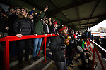 Kidderminster Harriers 3 Gainsborough Trinity 0, 19/11/2016. Aggborough, National League North. A group of musicians and singers from Uganda playing their drums in the home shed as part of a fundraising initiative at Aggborough, home of Kidderminster Harriers as they played visitors Gainsborough Trinity in a National League North fixture. Harriers were formed in 1886 and have played at their current home since 1890. They won this match  by 3-0 watched by a crowd of 1465. Photo by Colin McPherson.