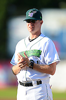Jamestown Jammers pitching coach Mike Steele #31 during introductions before a game against the Williamsport Crosscutters on June 20, 2013 at Russell Diethrick Park in Jamestown, New York.  Jamestown defeated Williamsport 12-6.  (Mike Janes/Four Seam Images)