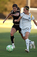 Brandi Chastain (left) chases down Manya Makoski (left). FC Gold Pride tied the Los Angeles Sol 0-0 at Buck Shaw Stadium in Santa Clara, California on July 23, 2009.